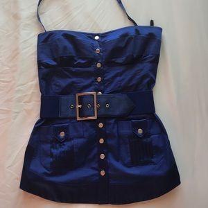 Royal Blue Satin Bebe Corset Top w/ Belt